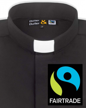 Collarhemd Fairtrade schwarz Langarm