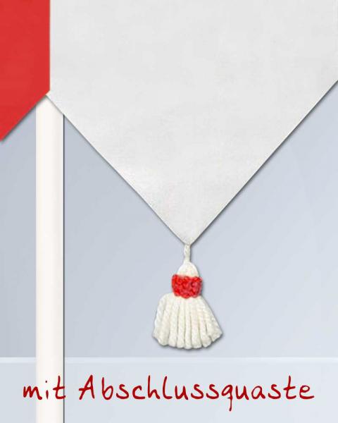 fahne aus baumwollstoff rot wei mit quasten. Black Bedroom Furniture Sets. Home Design Ideas